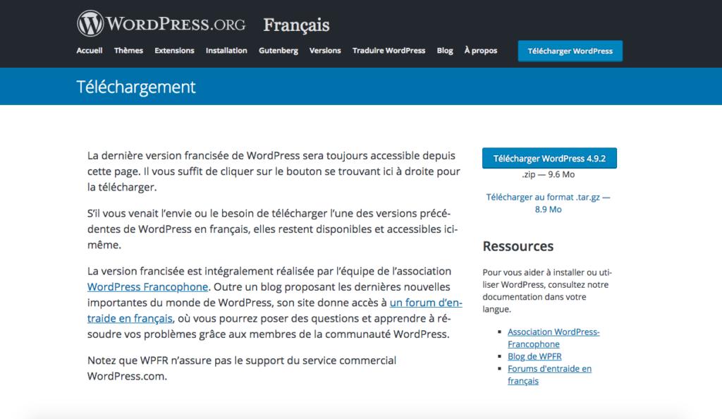 Téléchargement WordPress